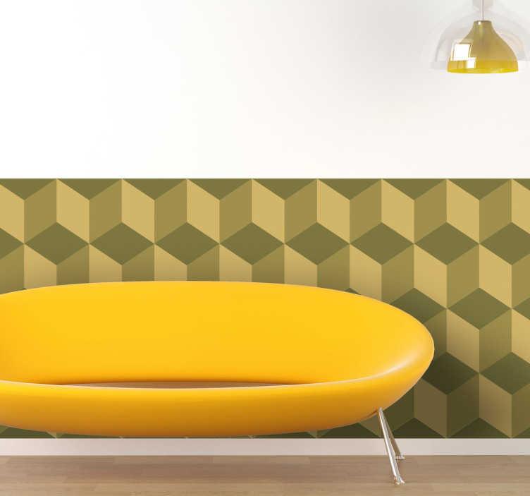 TenStickers. Sticker strook behang kubus. Decoreer uw muren met deze originele en moderne behangstrook met groene kubussen. Zo geeft u eenvoudig een prachtige look aan uw muren!