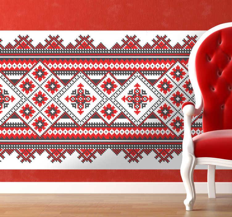 TenStickers. Stick Muster Wandtattoo. Wandaufkleber - wunderschönes und gemütliches Stick Design als Sticker für Ihr Wohnzimmer, Schlafzimmer und weitere Räume.