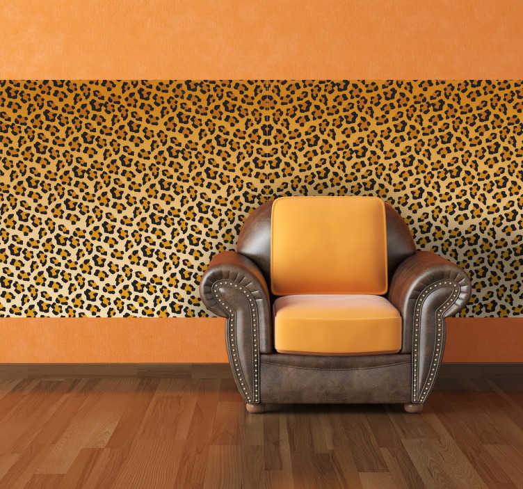 TenStickers. Leopard Vinyltapete. Diese spektakuläre Tapete mit Leopard Muster bringt ein bisschen Afrika zu Ihnen nach Hause.