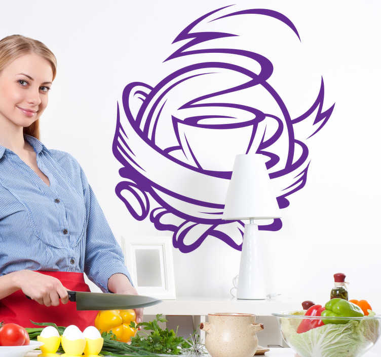 TenStickers. Sticker cuisine cafetière. Adhésif décoratif pour la cuisine. Décorez vos placards, vos murs ou vos appareils électroménagers avec ce stickers représentant une tasse de café fumante. Stickers qui vous fera passer des petits-déjeuners gourmands.