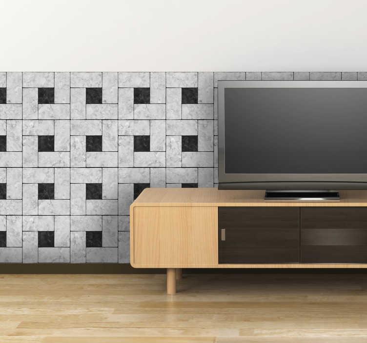 TenStickers. Naklejka kwadratowy motyw. Naklejka dekoracyjna na ścianę przedstawiająca motyw szarych kwadratów z czarnym wnętrzem. Udekoruj salon, kuchnię czy jadalnię.