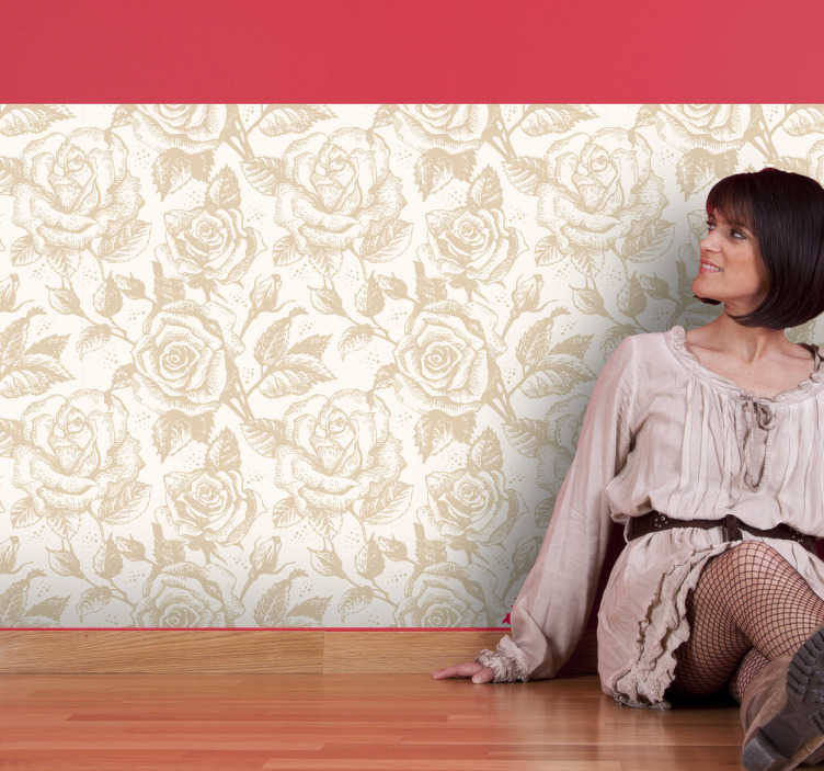 TenStickers. Beige Rose Vinyltapete. Vinyltapete im Blumendesign. Diese elegante Tapete mit beigen Rosen verschönert jede Wand in Ihrem Zuhause.