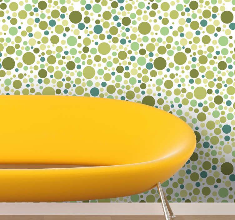 TenStickers. Grüne Kreise Wandtattoo. Wandtattoo für jedes Zimmer. Viele grüne Kreise in verschiedenen Größen. Eine einfache Lösung dein Zuhause modern und lebhaft aussehen zu lassen.