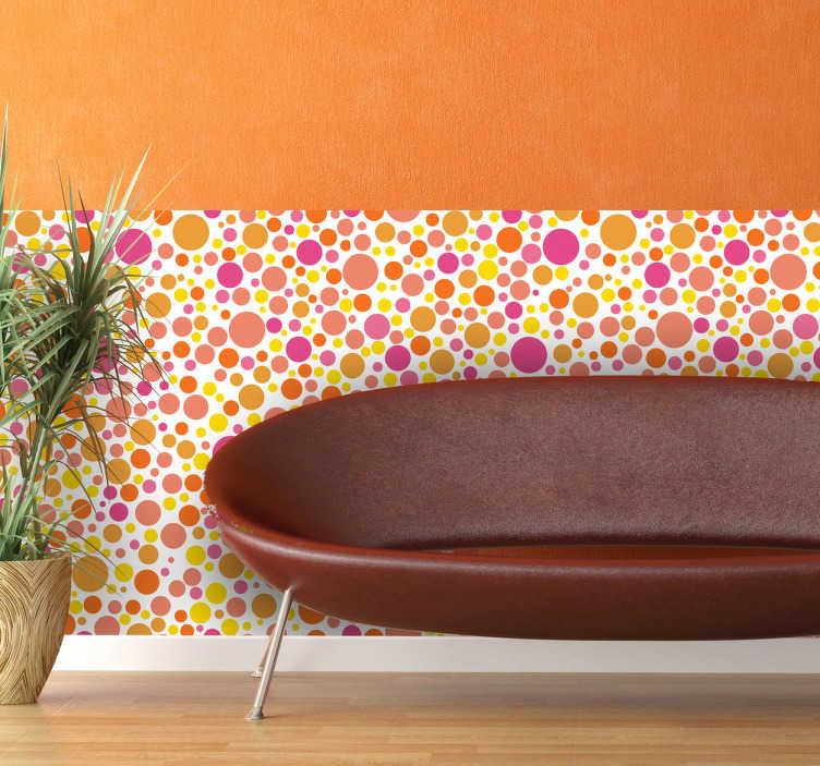 TenStickers. Bunte Kreise Vinyltapete. Verleihen Sie Ihrer Wand mit dieser farbenfrohen Tapete mit großen und kleinen Kreisen eine unverwechselbare Note.