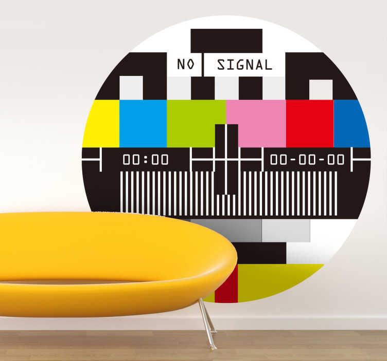 TenStickers. Ingen signal tv klistermærke. Der ville ikke have været noget tv, hvis det ikke var for dette vigtige symbol. Stor del af tv historie.