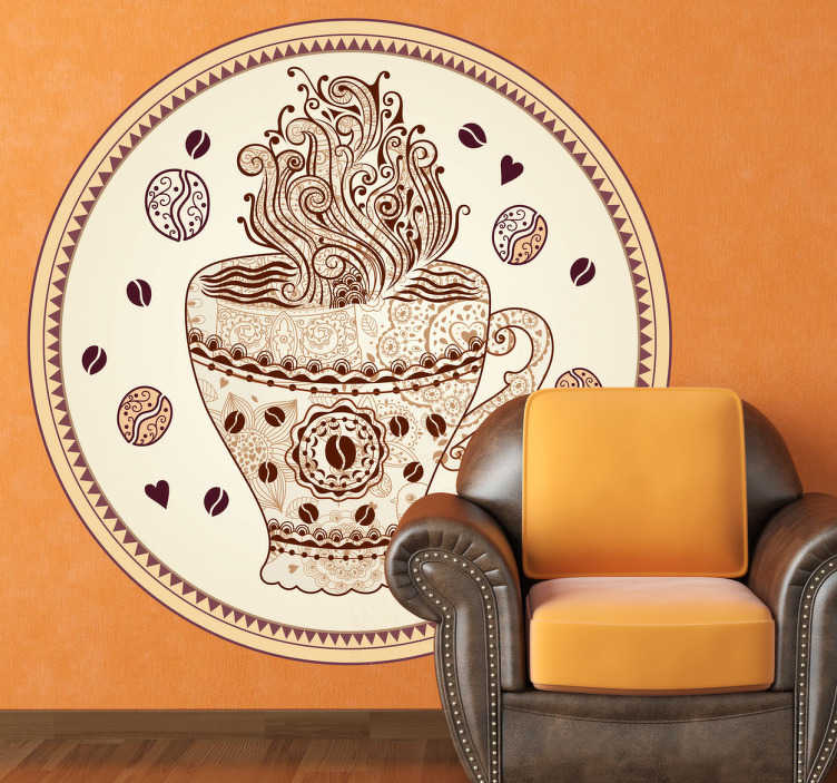 TenStickers. Naklejka dekoracyjna kubek kawy. Naklejka dekoracyjna przedstawiająca filiżankę gorącej kawy w okrągłej, ozdobnej ramce.