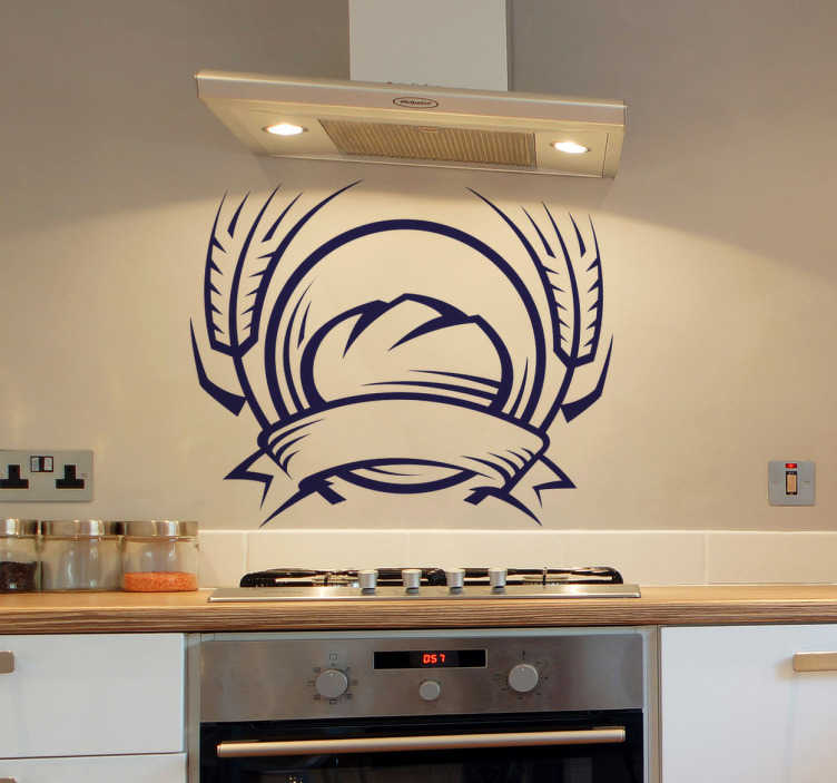 TenStickers. Baked Bread Kitchen Sticker. Kitchen Stickers - Emblem design inspired by fresh baked bread. Decorate your kitchen appliances, walls and cupboards