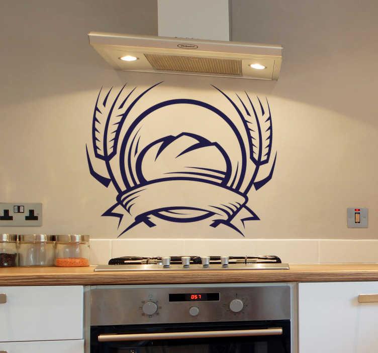 TenStickers. Naklejka Symbol jedzenia 6. Naklejka dekoracyjna do kuchni. Przedstawia świeżo upieczony bochenek chleba. Świetnie ozdobi szafki, ściany, kafelki lub sprzęty AGD.