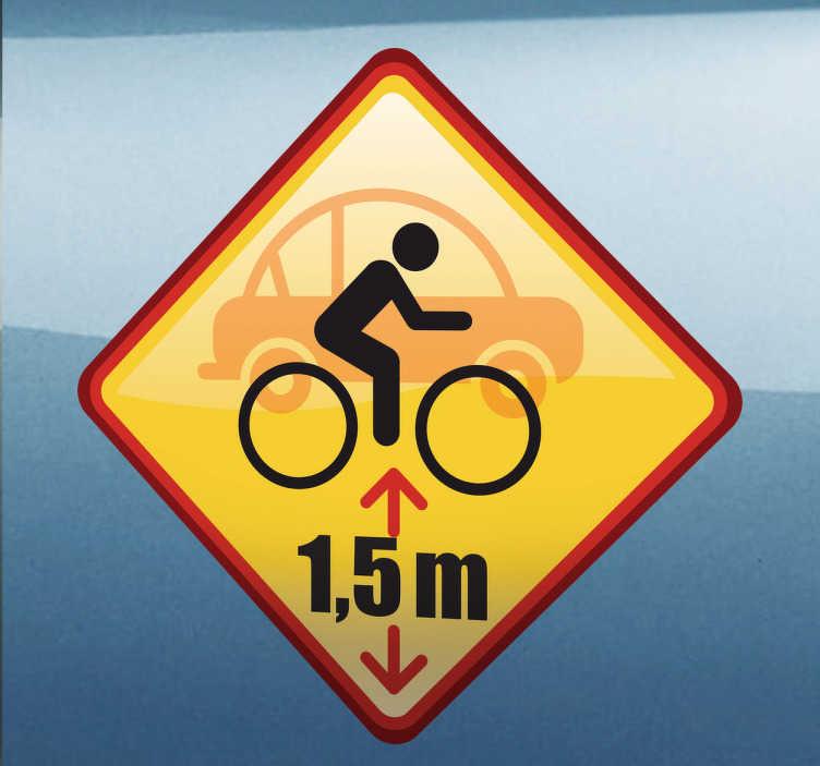 TenStickers. Sticker decorativo mantenere la distanza. Adesivo decorativo per ricordare agli altri conducenti che va sempre lasciato uno spazio minimo di 1,5m tra la propria macchina e una bicicletta.