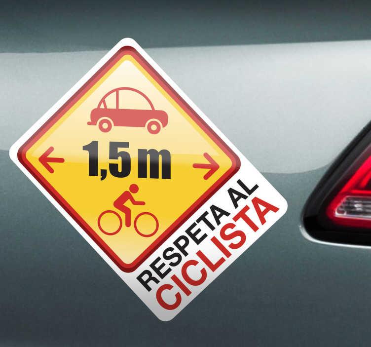 TenVinilo. Vinilo decorativo respeto ciclista. Diseño original de tenvinilo con el que podrás advertir al resto de conductores de la distancia mínima a dejar entre coche y bici.