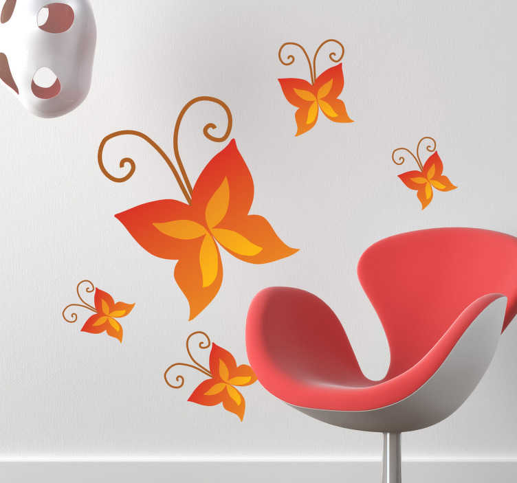 TenStickers. Sticker decoratie rode vlinders. Muursticker van een oranje/rode vlinder met lange voelsprieten! Een prachtige decoratie sticker voor het opfleuren van de saaie muren in je woning.