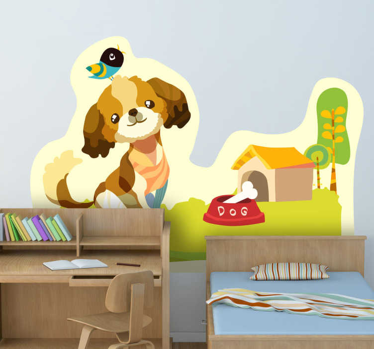 TenStickers. Meadow Dog Wall Mural. Kids Wall Stickers - Original playful illustration of an adorable dog in the meadow. Ideal for decorating areas for children.