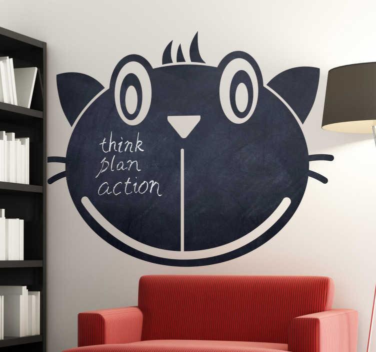 TenStickers. Sticker ardoise chat. Stickers ardoise à craie représentant un visage de chat.Super idée déco pour la chambre d'enfant.