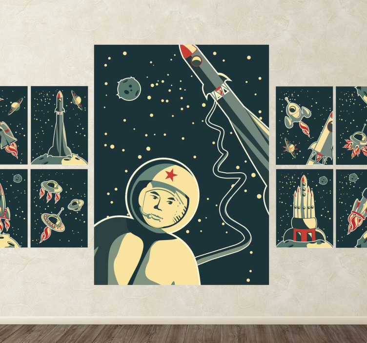 TenStickers. Kids Space Print Wall Murals. Kids Wall Stickers-Collection of original space themed prints. Astronauts, rockets, space ships, stars and planets. Ideal for little space explorers.