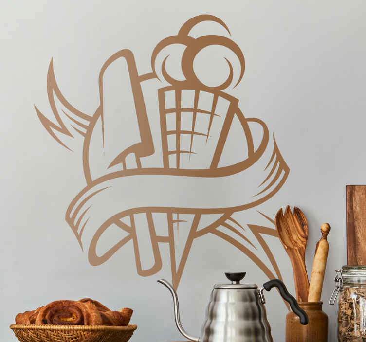 TenStickers. Ice Cream Kitchen Sticker. Kitchen Stickers - Emblem design inspired by frozen treats. Ice cream and ice lollies. Decorate your kitchen appliances, walls and cupboards.