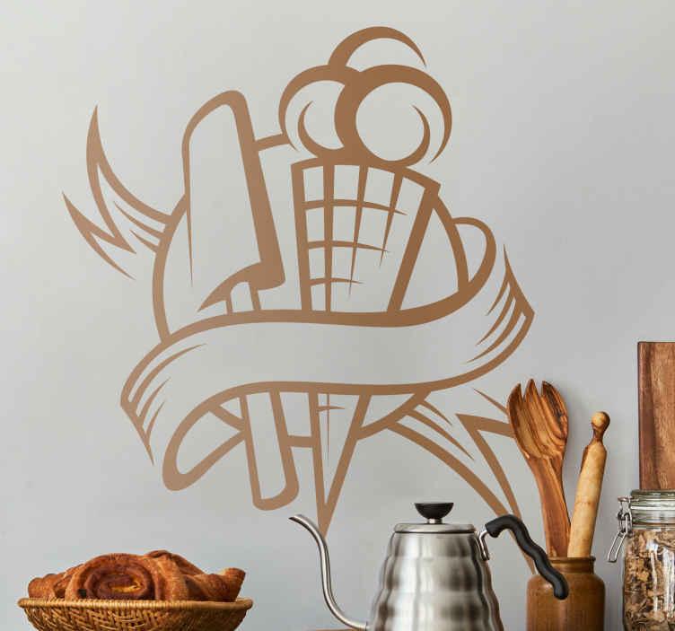 TENSTICKERS. アイスクリームキッチンステッカー. キッチンステッカー-冷凍菓子に触発されたエンブレムデザイン。アイスクリームとアイスキャンディー。キッチン用品、壁、食器棚を飾ります。