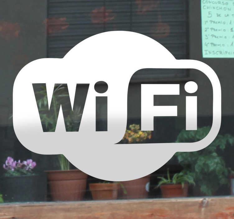 TenStickers. Autocolante decorativo Logo Wi-Fi. Comunique aos seus clientes que tem Wi-Fi grátis com este reconhecido autocolante decorativo tanto para janelas como paredes.