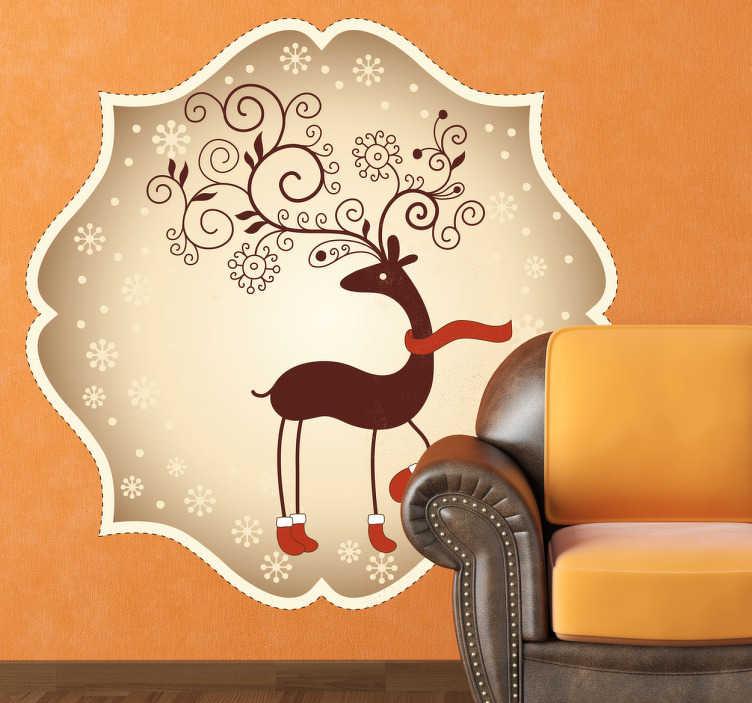 Naklejka świąteczna renifer w szaliku
