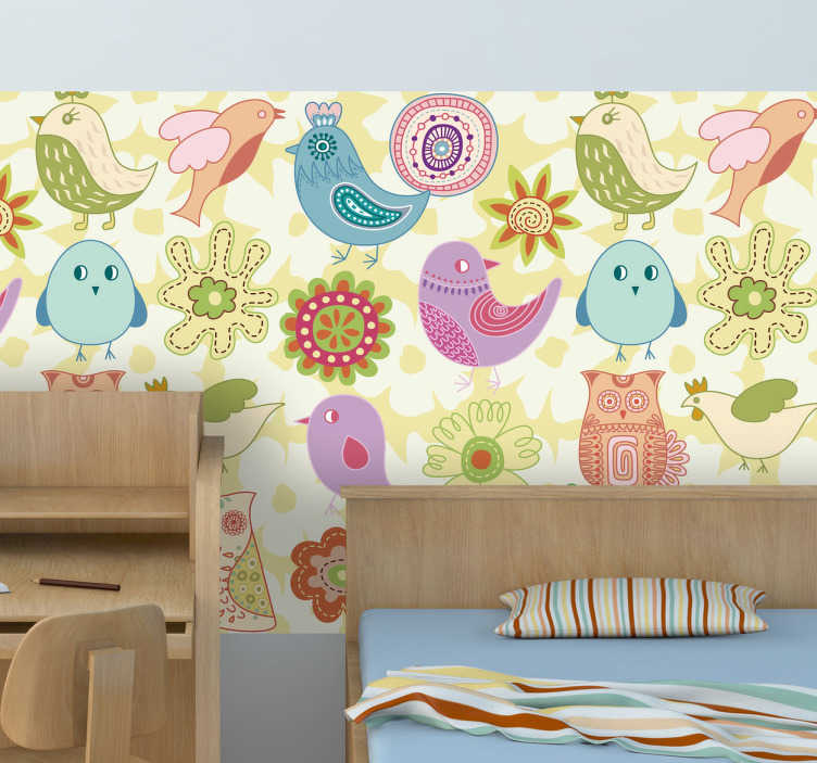 TenStickers. Fototapety kolorowe ptaszki. Tapety dla dzieci, które odmienią każde puste wnętrze! Pełna pastelowych kolorów naklejka na ścianę przedstawiająca różne ptaszki.