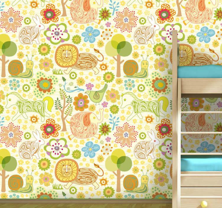 TenVinilo. Pieza vinilo infantil naturaleza. Decora las paredes de la habitación de tus hijos con esta textura adhesiva de animales salvajes.