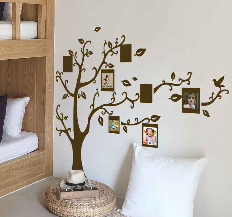 TenStickers. Family Tree Silhouette Sticker. Spectacular sticker designed for you to put the pictures that you like in the rectangular spaces.