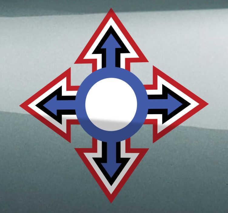 TenStickers. Auto sticker kruis pijlen. Decoreer de auto met deze auto sticker. Dit is een simpele en eenvoudige stickermet kruis en pijlendie de auto toch op zal fleuren.