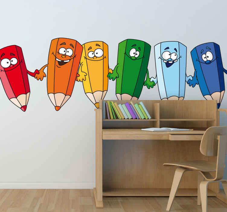 TenStickers. Naklejka na ścianę dla dzieci kolorowe kredki. Zabawna naklejka na ścianę przedstawiająca kolorowe kredki trzymające się za ręce. Idealne rozwiązanie na dekorację pokoju gier i zabaw.