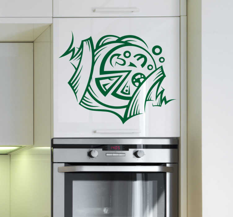TenStickers. Pizza Emblem Kitchen Sticker. Kitchen Stickers - pizza emblem. Decorate your kitchen appliances, walls and cupboards.Decals great for styling your home.