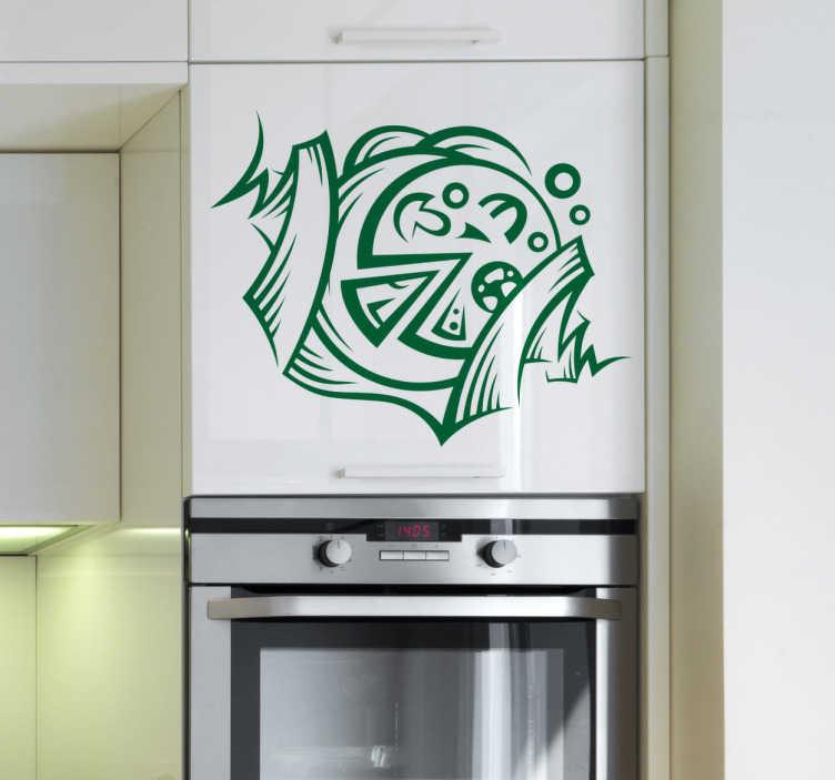 TenStickers. Vinil decorativo ilustração pizza. Vinil decorativo de uma ilustração de pizza para poder decorar na sua cozinha ou no seu restaurante, bar, café etc.