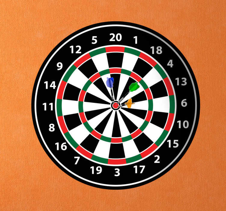 TenStickers. Dart Board Sticker. A sticker with a classic design of a professional dart board. A practical design and a great idea for decorating bedrooms or games rooms.