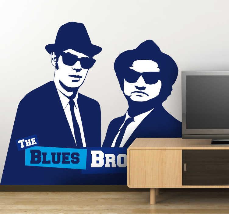TenStickers. The blues brothers sticker. Wie kent dit bekende duo toch niet? The Blues Brothers van de bekende film! Jake en Elwood Blues kunnen nu op jouw muur plakken!