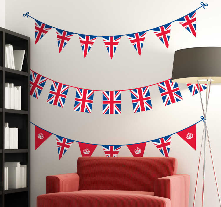 TenStickers. Great Britain Bunting Decal Banners. Union flag bunting banners to decorate your home or business. Set of three British banners from our collection of bunting wall stickers.