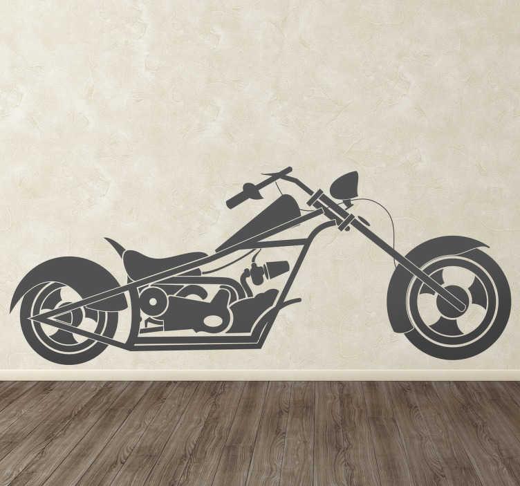 TenStickers. Naklejka rower chopper. Lubisz rowery? A może specjalnie interesujesz się tym niekonwencjonalnym modelem? W takim razie ta dekoracja jest dla Ciebie!