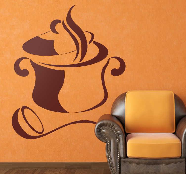 TenStickers. Naklejka na ścianę garnek. Naklejka dekoracyjna przedstawiająca gorący garnek wraz z chochlą. Nadaj odmienny charakter Swoim ścianom.