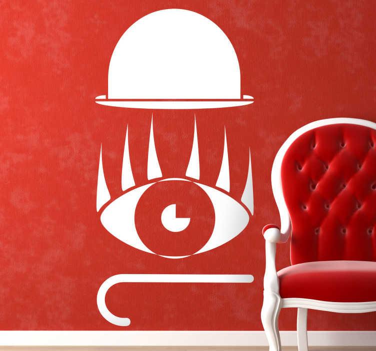 """TenStickers. Naklejka """"Mechaniczna Pomarańcza"""". Naklejka dekoracyjna inspirowana jednym z najsłynniejszych filmów Stanley'a Kubrick'a """"Mechaniczna Pomarańcza"""". Magnetyzujący wzór przedstawiający kapelusz, oko oraz laskę."""