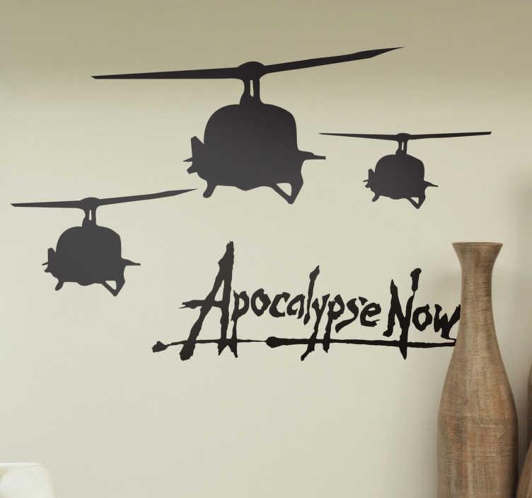 """TenStickers. Sticker Schaduw Apocalypse Now. Deze muursticker gebaseerd op de epische oorlogsfilm  """"Apocalypse Now"""" door Francis Ford Coppola"""