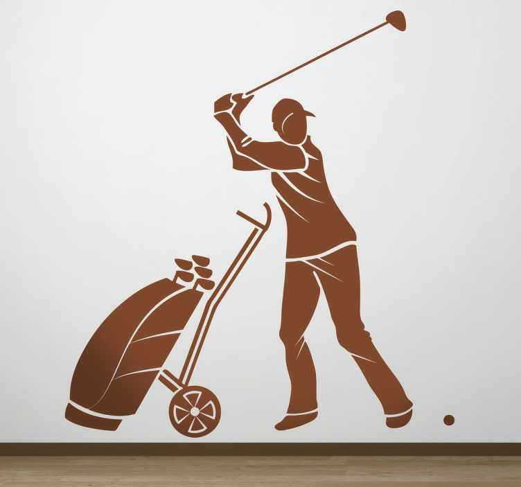 TenStickers. Professional Golfer Silhouette Decal. A decorative sticker of a professional golfer preparing his swing to make sure he gets as close as possible to the hole.