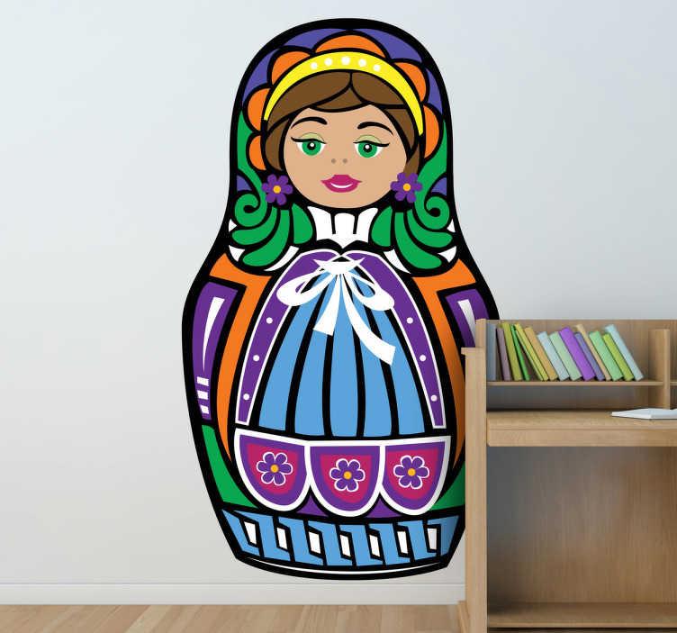 TenVinilo. Vinilo decorativo muñeca rusa. Colorida pegatina de una matrioska, el típico juguete de Rusia que todos conocemos.