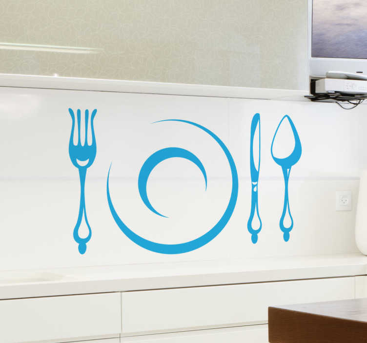 TENSTICKERS. キッチンカトラリーステッカー. このキッチンカトラリーステッカーには、フォーク、プレート、ナイフ、スプーンが含まれており、キッチンの壁に装飾を加えるのに最適なデザインです。