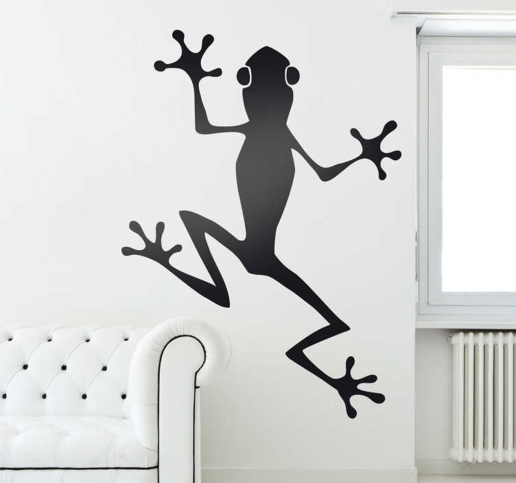 TenStickers. Tırmanma kurbağa duvar sticker. Oda çıkartmaları - lezzetli bir böcek yakalamak umuduyla duvara sıkışmış bir kurbağa tek renkli çizimi. Uniq ve eğlenceli tasarımlar herhangi bir alanı süslemek için.