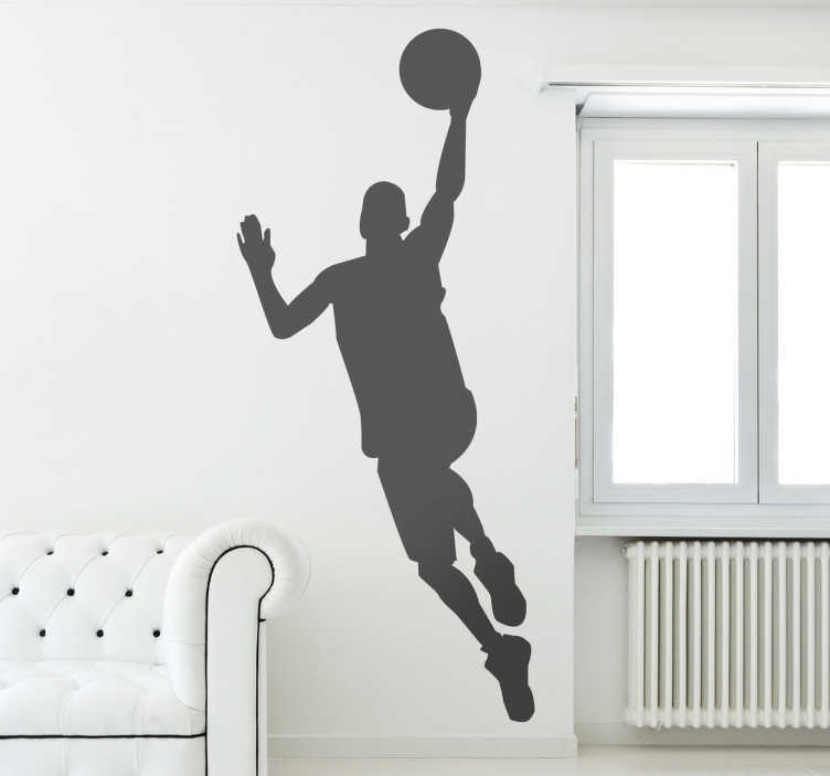 TenStickers. Naklejka dekoracyjna postać koszykówka. Naklejka dekoracyjna stworzona z myślą o pasjonatach koszykówki. Obrazek przedstawia sylwetkę zawodnika w trakcie rzutu do kosza.