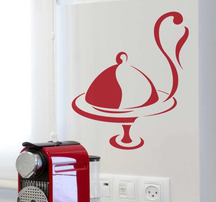 TenStickers. Wandtattoo Küche Menüplatte. Gestalten Sie Ihre Küche mit diesem tollen Aufkleber einer dampfenden Menüplatte. Damit geben Sie Ihrem Zuhause einen ganz besonderen Touch