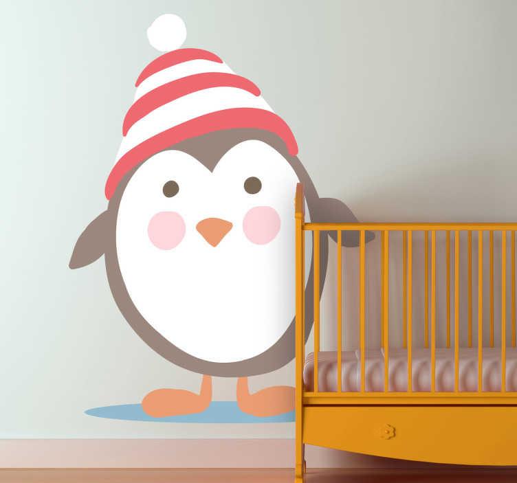 TenStickers. Sticker kind pinguin muts. Een leuke en gezellige muursticker van een pinguin met een mutsje ter decoratie van de kamer van uw kind.