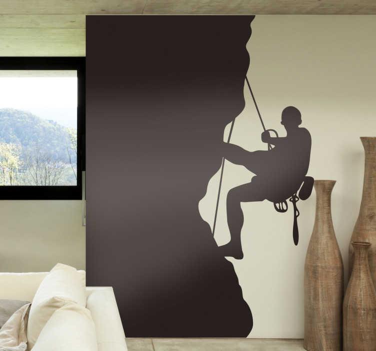 Tenstickers. Kallio kiipeilijä sisustustarra. Todella tyylikäs Kalliokiipeilijä sisustustarra tuomaan suosikkiharrastuksesi osaksi sisustusta. Kuvassa kiipeilijä kiipeää yläköyden varassa kiipeilyvarusteita vyöllään.