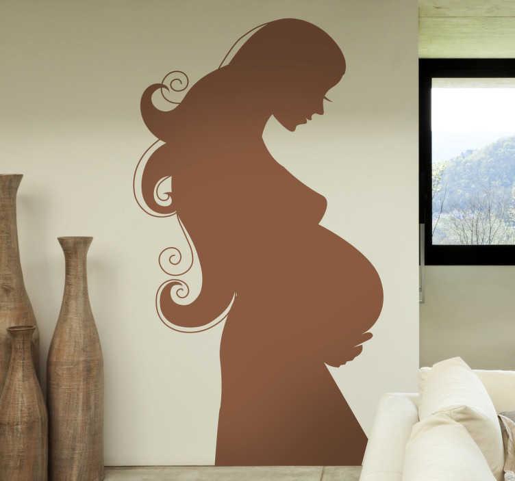 TenVinilo. Vinilo silueta mujer embarazada. Espectacular adhesivo de una joven futura madre de perfil observando a su bebé aún dentro suyo, por poco.