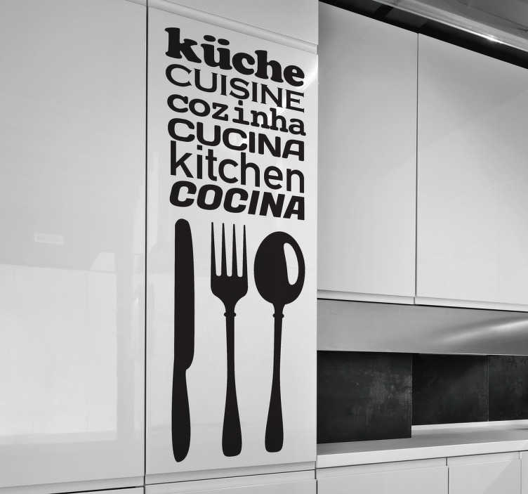 TenStickers. Multi Lingual Kitchen Sticker. An original monochrome text sticker combined with 3 pieces of cutlery in 6 different languages.