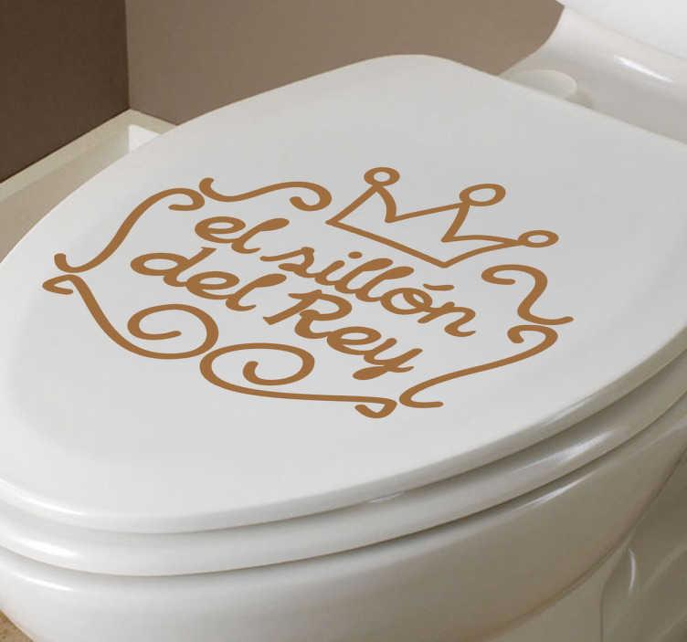 TenVinilo. Adhesivo lavabo sillón del rey. Elegante diseño en vinilo para que cuando visites el lavabo te sientas el monarca de casa sentado en su trono.