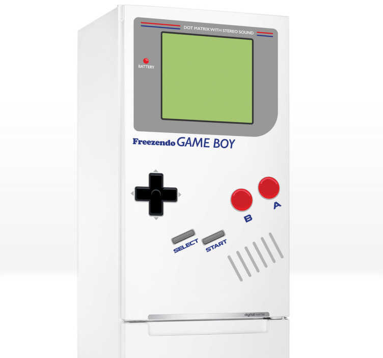 TenStickers. Naklejka na lodówkę game boy. Wyjątkowa naklejka na lodówkę imitująca konsolę Nintendo - Game boy. Oryginalny pomysł na zmianę wyglądu kuchni.