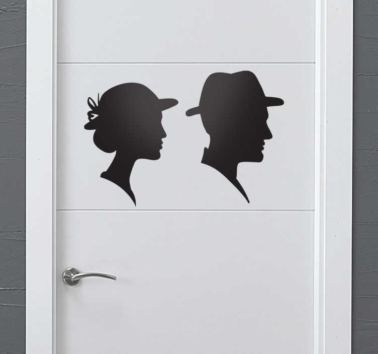TenVinilo. Adhesivo silueta lavabo hombre mujer. Señaliza los servicios con este elegante vinilo que consta de dos silueta de bustos de personas con sombrero.