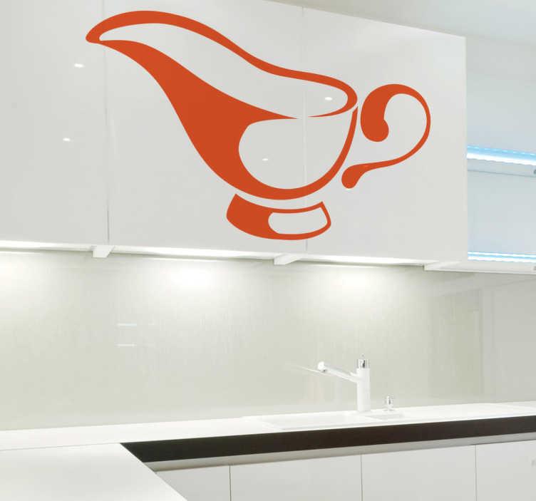 TenStickers. Adesivo decorativo salsiera. Sticker decorativo per la cucina. Decora le credenze, le pareti o gli elettrodomestici della tua cucina con questo sticker che raffigura una salsiera.